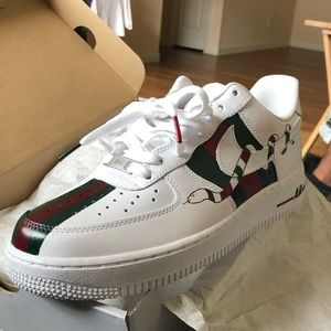 "f5b2d2a750f7dd Nike Shoes - Nike Air Force Ones ""Custom Gucci"""